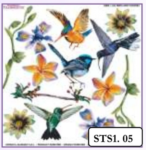 BIRDS AND FLOWERS PRINTED SHEET